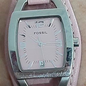 """Fossil pink leather watch 8.5X.75"""" career casual"""